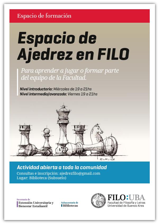 La imagen muestra el flyer con la información del evento y una ilustración de las piezas del ajedrez.