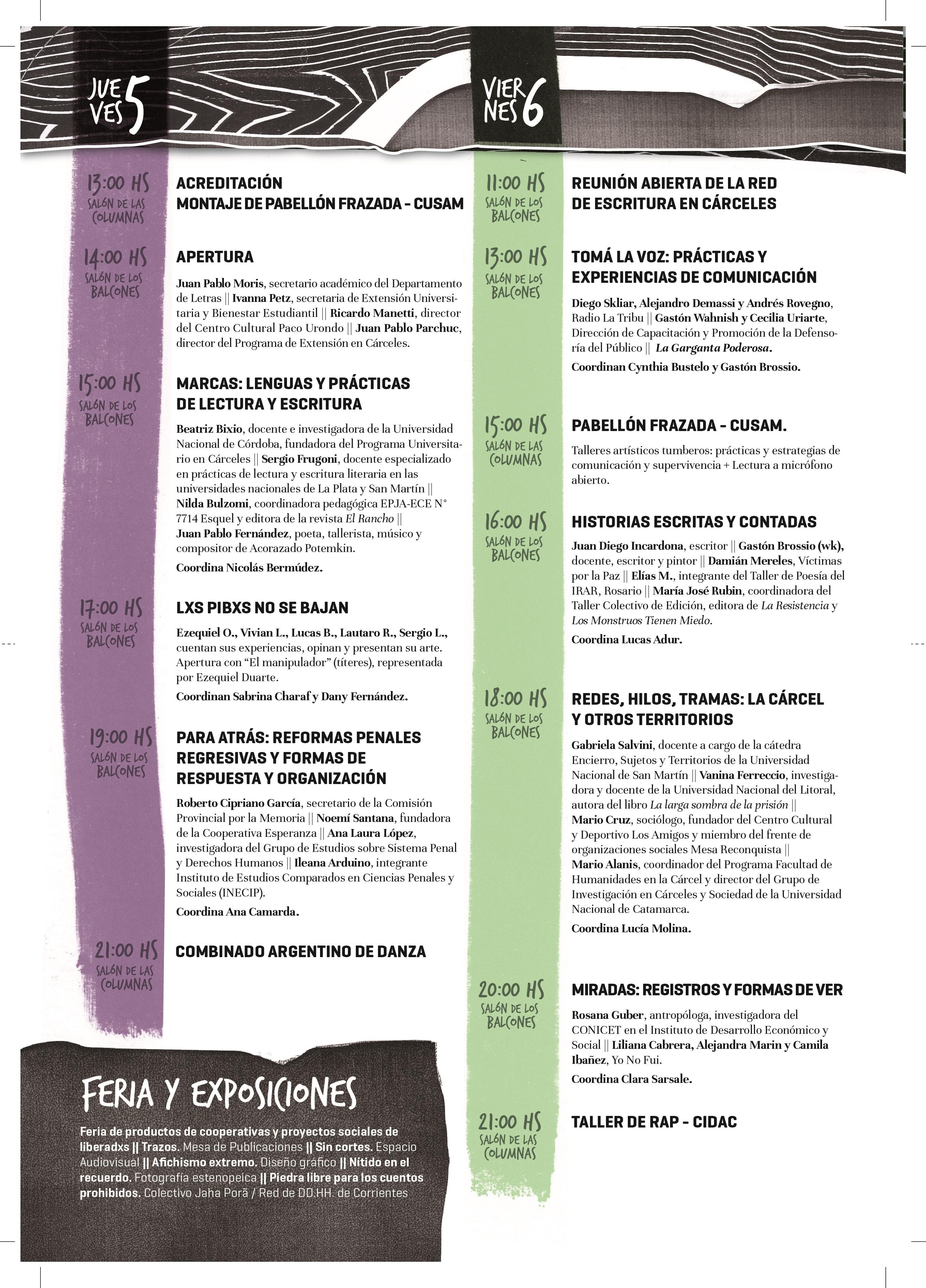 La imagen muestra el Programa de Actividades del Encuentro de Escritura en Cárceles.